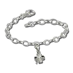 SilberDream Charms Kette Set – Glücksklee – 925 Sterling Silber Charm Armband – FCA131