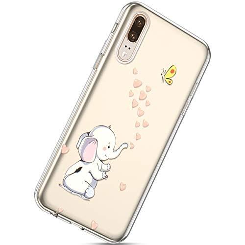 Handyhülle Huawei P20 Durchsichtig Silikon Schutzhülle Kratzfeste Kristall Transparent Silikonhülle Crystal Clear TPU Bumper Case TPU Cover Weich Hülle,Elefant