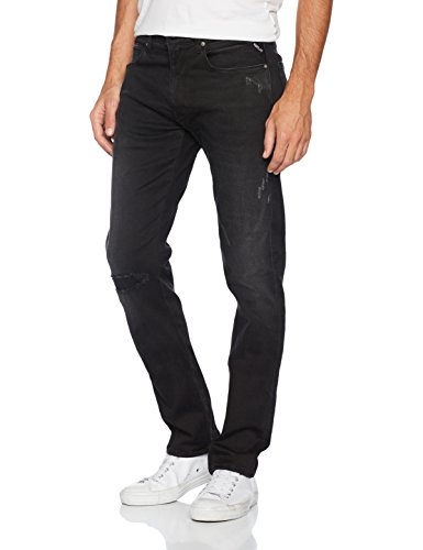 Replay Herren Straight Jeans Grover Hyperflex Schwarz (Black 98)