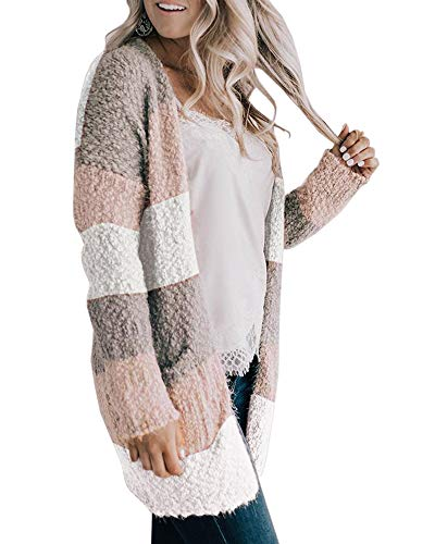 Pommaxe Womens Chunky Color Block Cardigan Casual Long Sleeve Open Front Popcorn Fluffy Striped Sweaters Outwear - Ribbed Knit Striped Sweater