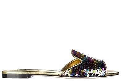 Dolce&Gabbana ciabatte donna in pelle paillettes oro EU 35 CQ0075 AG770 8B034