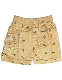 Krystle Boy's Khaki Printed Cotton Shorts for Kids