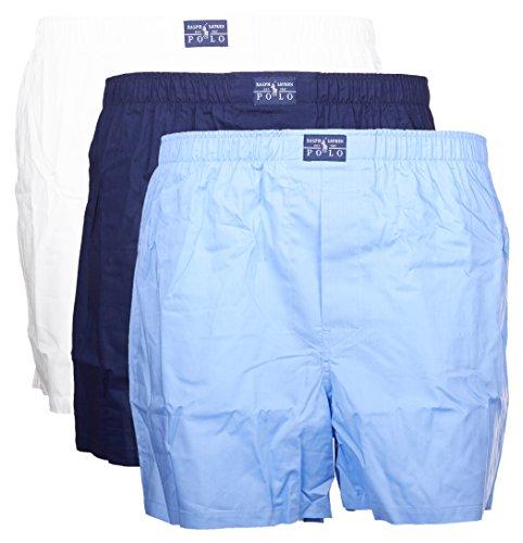 Polo Ralph Lauren 3er Pack Web-Boxer mit Eingriff Weiss-Blau-Navy Gr. M