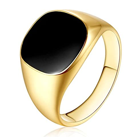 LHWY Solid Polished Stainless Steel Band Biker Men Signet Ring Black Silver (Stainless Steel(A), 11)