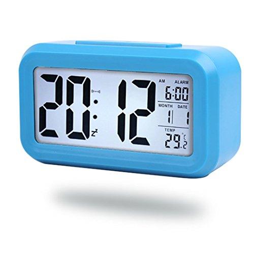 Digitale Smart Wecker, einfache Batteriebetriebener LED Digital-Wecker mit extra großen Display Snooze, Datumsanzeige, Temperatur und Lichtsensor