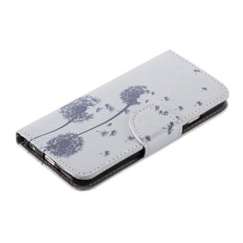 Ooboom® iPhone 5SE Hülle Flip PU Leder Schutzhülle Handy Tasche Case Cover Wallet Standfunktion mit Kartenfächer für iPhone 5SE - Wolf Löwenzahn Grau