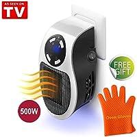 Mini Heater Chauffage pour Prise Murale 500W - Espace Chauffe-eau Électrique Air Radiateur Accueil Fourneau, Fonction d'horloge (1−12 heures) (White+Silicone Oven Gloves)