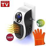 Mini Riscaldatore Portatile Heater, Stufa Elettrica a Presa a Muro con Display Digitale Temporizzato Regolabile per Casa e Ufficio, 500W (White, 500W)