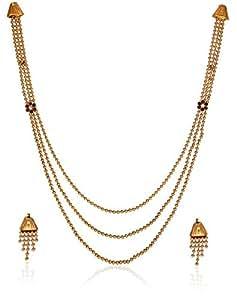Zaveri Pearls Jewellery Set for Women (Golden) (ZPFK1916)
