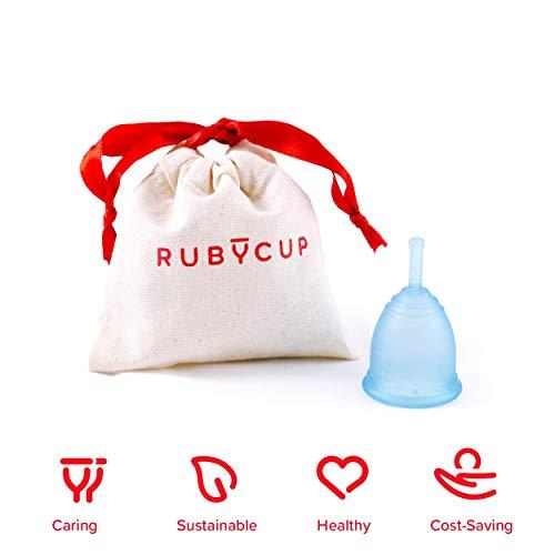 Ruby Cup - Wiederverwendbare Menstruationstasse (leichte Tage, niedriger Gebärmutterhals, Größe: S) - BLAU- inkl Spende. Ideal für Anfänger. Praktische & zuverlässige Alternative zu Tampons & Binden