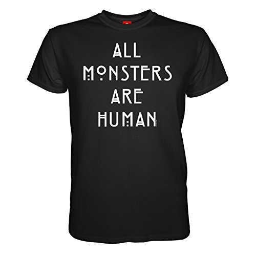 King of Merch - Herren T-Shirt - American Horror Story All Monster Are Human Murder House Asylum Coven Freak Show Hotel Naomi Campbell Lady Gaga Kathy Bates Liz Taylor Hypodermic Sally Schwarz 2XL (American Horror Story-shirt Für Mädchen)