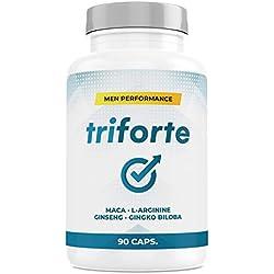 TRIFORTE Men Performance | Testosterona + Potencia + Esperma + Placer | 90 Cápsulas