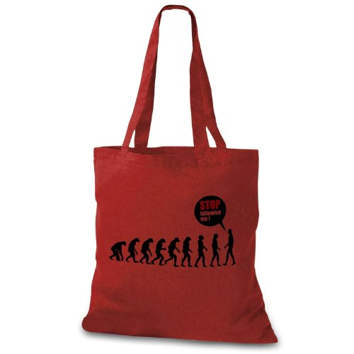 StyloBag Jutebeutel Stop following me - Funny Evolution Stofftasche Rot