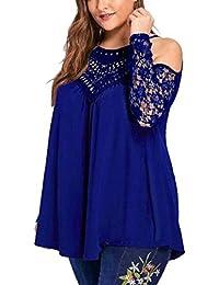 Preisvergleich für PAOLIAN Damen Bluse Trägerlos Pullover Bluse Hemd Übergröße Spitze Langarm T-Shirt Sweatshirt Tops