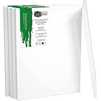 Artina 5er Set - 40x50 cm Leinwand aus 100% Baumwolle auf stabilem Keilrahmen in Akademie Qualität - 280 g/m²