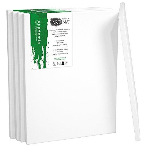 24 Leinwand (Artina 5er Set - 24x30 cm Leinwand aus 100% Baumwolle auf stabilem Keilrahmen in Akademie Qualität - 280 g/m²)