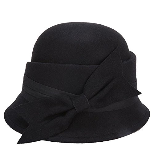 Outflower Mädchen Filzhütte Bucket Hat Damen Filz Hut Retro Billycock Derby Bowler Mütze Hats (Retro Bowler Damen)