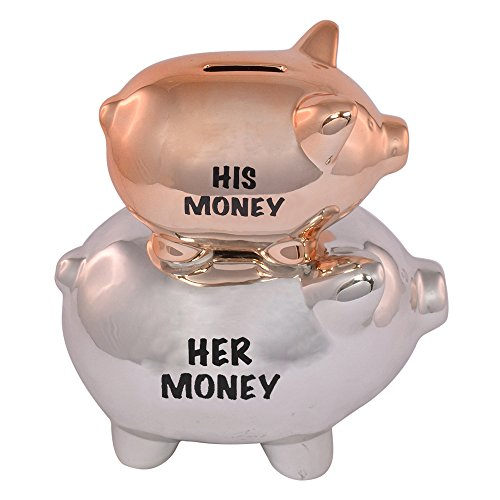Xpressions His & Hers Piggy Bank Traditional Money Box With Stopper Wedding Gift