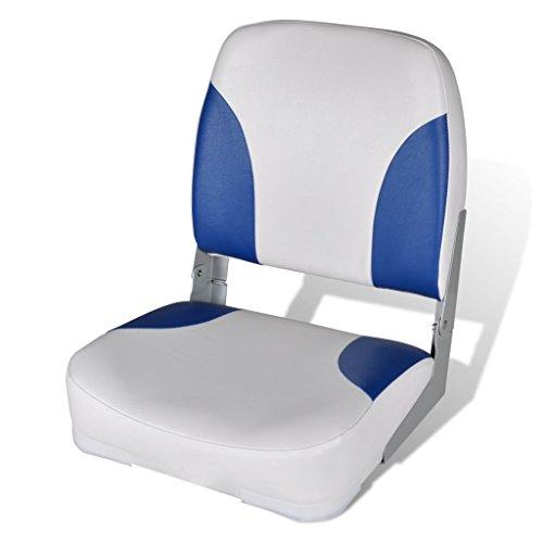 Festnight Bootssitz Steuerstuhl Anglerstuhl Klappstuhl UV-beständig 41x36x48cm für Fischen Sonnenbad - Blau / weiß