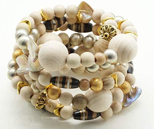Bracciale etnico boho chic memory molla armonica molto largo perle legno naturale vistoso particolare bigiotteria artigianale