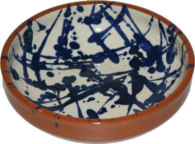 "Amazing Cookware ""Splatter Terracotta Bowl, Cream/Blue, 25 cm"