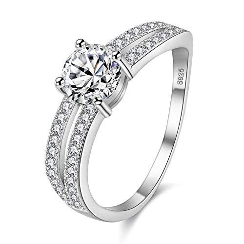 Uloveido Ladies Swirl Halo-Verlobungsring mit geteiltem Schaft Unregelmäßige Form Band Lab erstellt Diamant-Eheringe (Größe (57 (18.1)) (Verlobungsring Swirl)