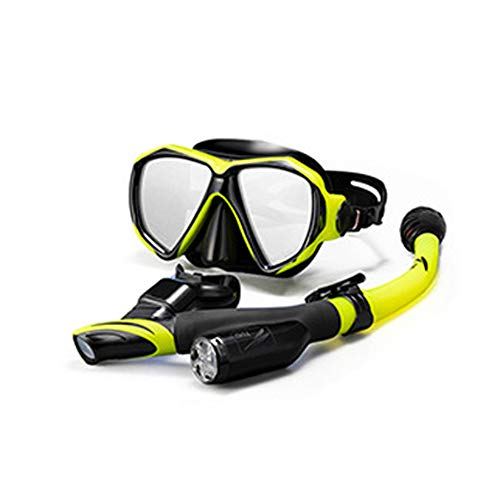 a ensemble respiration libre grande vision sèche à l'eau embouchure douce professionnelle facile à utiliser adultes masque de plongée durable réglable résistant à la fuite anti-brouillard(Jaune noir)