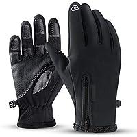Guantes Motor Invierno Impermeable Pantalla Táctil Guantes Protectores De Moto Dedo Completo para Invierno Al Aire Libre (Negro,M)