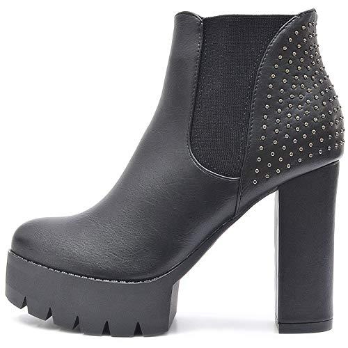 Vain Secrets Damen Chelsea Plateau Boots Stiefeletten mit Absatz Profil Sohle (38 EU, Schwarz ()