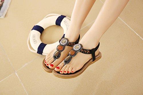 dqq femmes de Bohème avec string pour femme sandales Noir