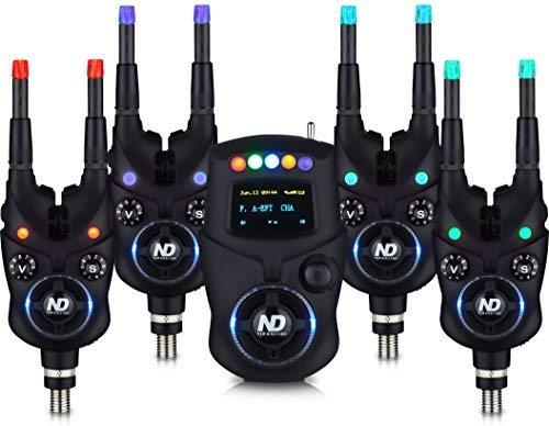 New Direction Tackle Bluetooth Elektronische Bissanzeiger Fun Set(4x K9,1x R9 Mini-Receiver,1x Plastikbox, 8x Leuchten (R,G,B,P))