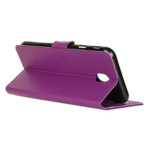 Klassische Litschi Texture PU Leder Schutzhülle Hülle Folio Flip Stand Case Cover mit Kartensteckplätzen für Samsung Galaxy J7 2017 EU Version ( Color : Brown ) Purple