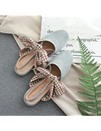 Xue Qiqi Zapatos de la Corte Solo zapatos Pajarita hembra Baotou Square calzado plano retro sandalias de artes...