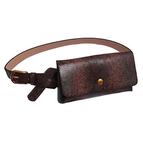 Serpentine Leder (YSoutstripdu Retro Pocket Purse Frauen Faux Leder Serpentine Waist Bag Wallet Fanny Pack-Red/Grey/Coffee/Brown/Black)