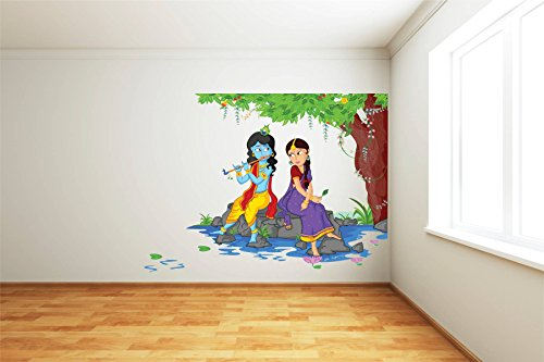 a38fc2b58b 77% OFF on Rawpockets Decals 'Lord Krishna Playing Flute with Radha on  River Bed' Wall Sticker - (PVC Vinyl, 80 cm x 80 cm, Multicolour) on Amazon  ...