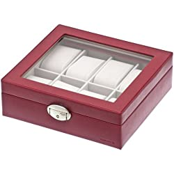 Davidt's Euclide Unisex Synthetic Watch Box in Red with Glass Lid for 8 Watches 367811.84