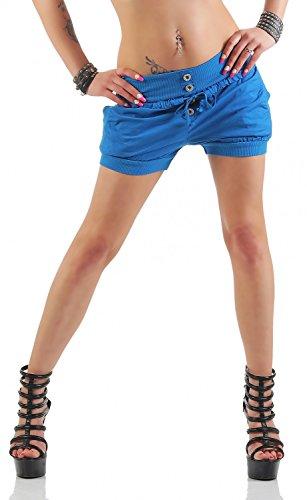 Damen Hotpants Shorts Kurze Hose Chino Bermuda Pants in angesagten Farben ( 506 ), Grösse:36, Farbe:Blau