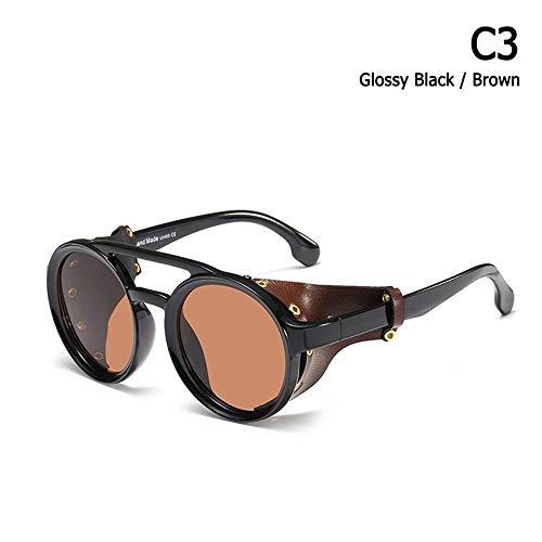 ZHOUYF Sonnenbrille Fahrerbrille Mode Vintage Steampunk Punk Stil Runde Sonnenbrille Leder Seitenschild Marke Design Sonnenbrille Oculos De Sol, B