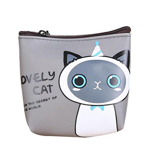 TUDUZ Damen süße Katze Mode Geldbörse Change Tasche Schlüsselhalter Tasche (D)