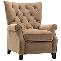 Zoy Riona Fabric Push-Back Recliner - Mocha