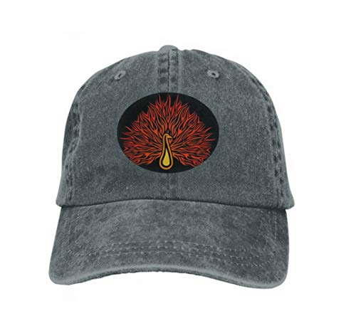 Cowboy Hat Fashion Baseball Cap for Men and Women Pattern Flaming Peafowl linear Carbon Peacock Black Background Carbon