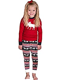 2pcs Noël Fawn Deer Vêtements de Famille Père Mère Enfant Garçon Fille Pyjamas Set de Nuit Sleepwear Nightwear Homewear, Tops + Pantalons 1 Set Tenues …