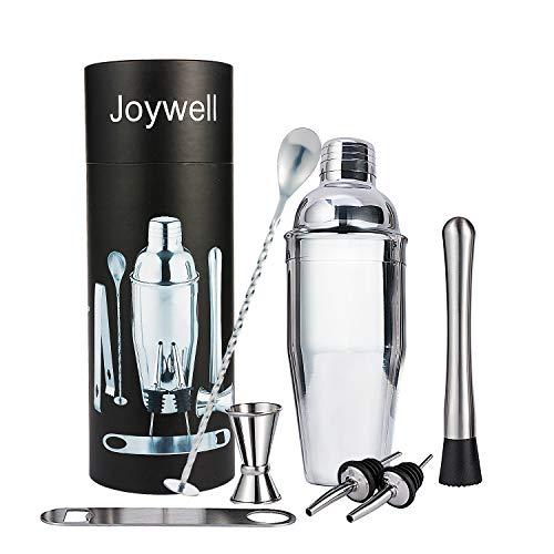 Joywell Cocktailshaker Set 10-teilig Bar-Set mit Shaker 750ml, Barstössel, Doppelt Barmaß, Barlöffel, Eiszange, Flaschenöffner, Ausgießer, Tasche, Tuch und Rezeptbuch
