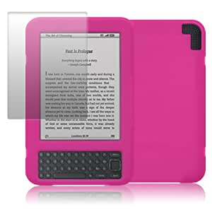 Amazon Kindle 3 Soft Silicone Skin Case Hot Pink with Screen Protector PART OF THE QUBITS ACCESSORIES RANGE