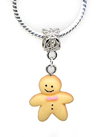 Ginger man gingerbread man children toy Christmas acrylic Gift Dangle Bead for Silver European Charm Bracelets Clip on Charm chain link bracelet