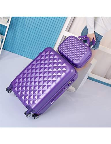 ZLJQQ 2Pcs / Set 14Inch Borsa Cosmetica Studentesse Trolley Trolley Spinner Boarding Bag Donna Borsa Da Viaggio Valigia Da Viaggio, Viola