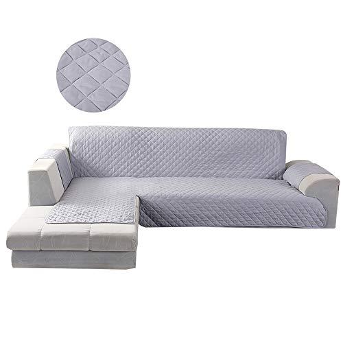 BOTTLEWISE Sofabezug Sofaüberwürfe für L-Fom Sofa, rutschfest&Wasserabweisend Schützen vor Haustiere und Kindern (Links 3 Sitzer Grau)