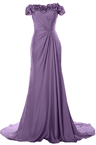 MACloth Women Off Shoulder with Flowers Long Prom Dress 2018 Evening Formal Gown Lavendel