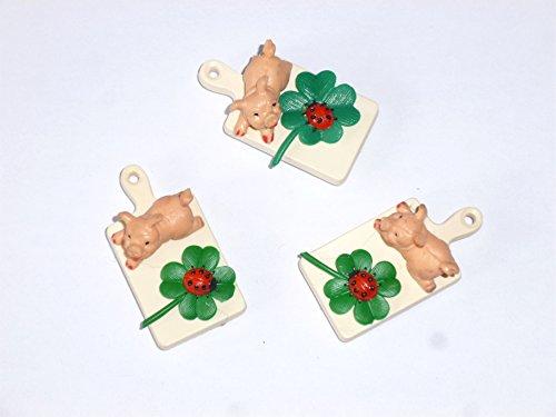 Glücksbrettchen magnetisch - 3er Set Magnete Brotzeitbrett mit Schwein/Kleeblatt - Kunststoffmagnet als Glücksbringer, Talismann, Geschenkidee, Geschenk zu Silvester, Magnet für viel Glück (Kleeblatt-magnet)