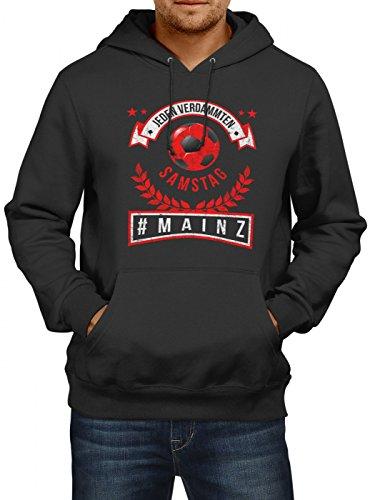Mainz #1 Premium Hoodie | Fussball | Fan-Trikot | #Jeden-Verdammten-Samstag | Herren | Kapuzenpullover, Farbe:Schwarz;Größe:XXL (Bell Fußball-trikot)